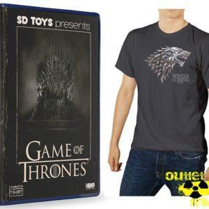 LOGO STARK ESCUDO METALICO CAMISETA GRISDE CHICO T-S EN CAJA VHS GAME OF THRONES