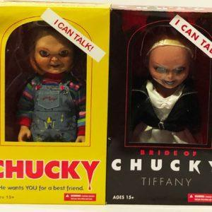 CHUCKY GOOD GUY y TIFFANY TALKING BRIDE, FIGURAS 38 CM LA NOVIA DE CHUCKY, CHUCKY GOOD GUY, MUÑECOS CON SONIDO